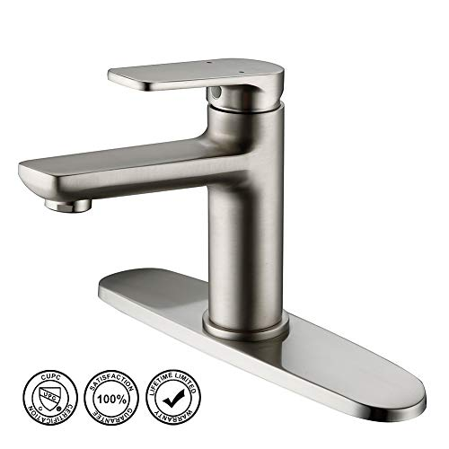 Bathroom Sink Faucet, HMEGAO Single Bathroom Faucet Brushed Nickel with cUPC Supply Hose, 10 Inch Deck Plate and NEOPERL Bubbler, Lead-free Copper Vanity for Bar, Pre-Kitchen, Lavatory, Family, School