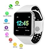 Touch Screen Bluetooth Smart Watch, VESKYS Sport Smart Wrist Watch Support SIM/TF Card with Pedometer Sleep Monitor Compatible for Men Women (White)
