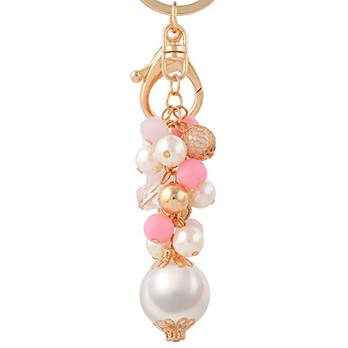 Pink Beaded Key Chain (Jiana Novelty Charm Beaded Key Chain for Clothing&Accessories Keychains,Pink)