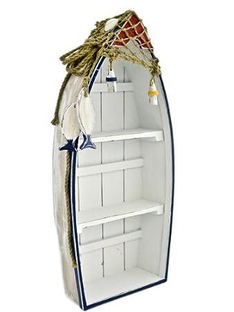 Genial Nautical Wooden Boat Shelf Shabby Chic Bathroom Seashore Coastal Shelving  Unit