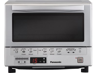 "Panasonic 1300 Watts FlashXpress Toaster Oven, Features Instant Double Infrared Heating, with 6 Illustrated Preset Buttons and Automatically Calculates Cooking Time, Includes a Digital Timer with Reminder Beep and a 9"" Square Inner Tray with Removable Crumb Tray"