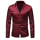 Xchenda Mens Autumn Winter Turn-Down Collar Shirt Fashion Satin Long Sleeve Pajama Top Suit Blouse (M, Red)