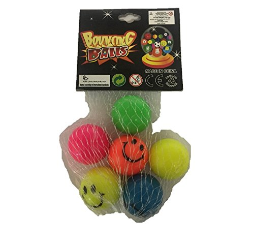 Fun Toys 10390–6Jumping Balls, Bouncy Balls, Smiley Face in Different Colors