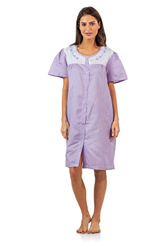 (Casual Nights Women's Short Sleeve Snap-Front Lounger Duster House Dress - Purple Gingham - Large)