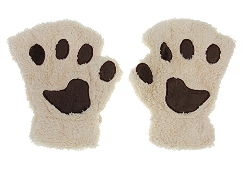 Bear Polar Riding (Cute Cat Bear Paw Fingerless Gloves Polar Fleece Half FInger Winter Warm Gloves With Detachable string)