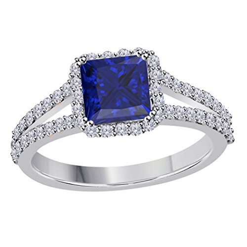 2.00 Ct Princess Cut Halo Pave Eternity Lab Created Blue Sapphire & White CZ Twist Shank Engagement Ring in 14k White Gold Plated Size 4-12