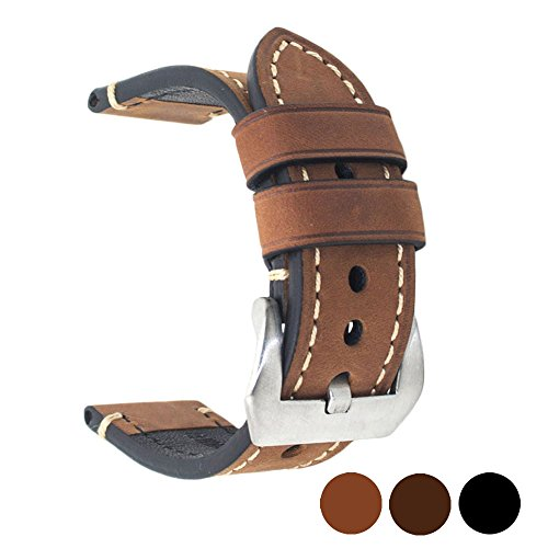 Brown 22mm Genuine Leather Wristwatch Watch Band Oil Tan Vintage Watchband for Men with Stainless Buckle (Brown Oil Tan Leather)