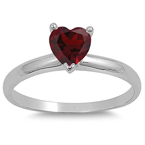 925 Sterling Silver Faceted Natural Genuine Red Ruby Heart Ring Size 7
