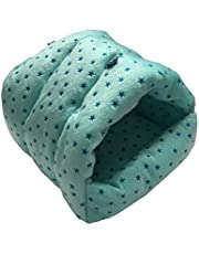 WOWOWMEOW Small Animals Warm Hanging Cage Cave Bed for Hamsters, Guinea-Pigs, Rats and Chinchillas (M, Star-Blue)