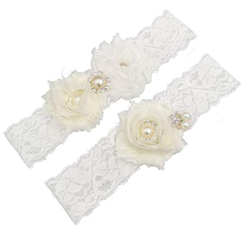 MerryJuly Wedding Bridal Garter Set Lace with Rhinestones and Chiffon Flowers (M(14-18 inch), Ivory and White) ()