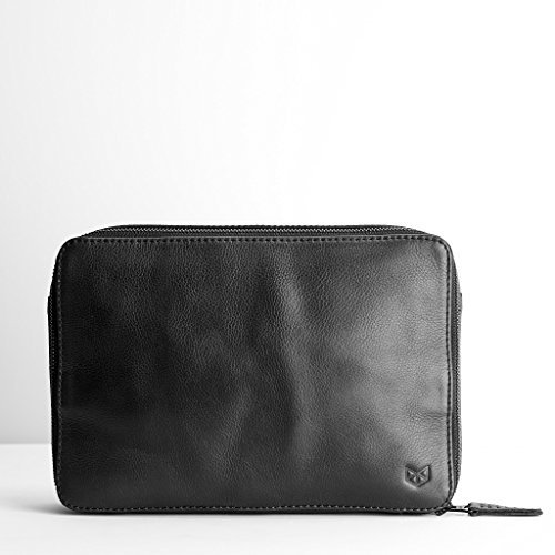Black leather gadget travel bag, iPad leather bag, tech dopp kit, cable ties, gifts for men, electronic organizer, tech organizer. iPad Bag. Prime by Capra Leather