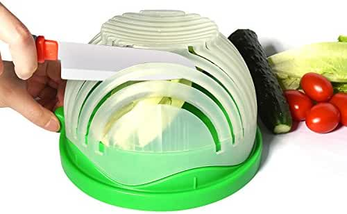 Salad Cutter Bowl 60 Seconds Salad Maker Fruit Vegetable Bowl Cutter-Fast Fresh Salad Slicer, Salad Chopper