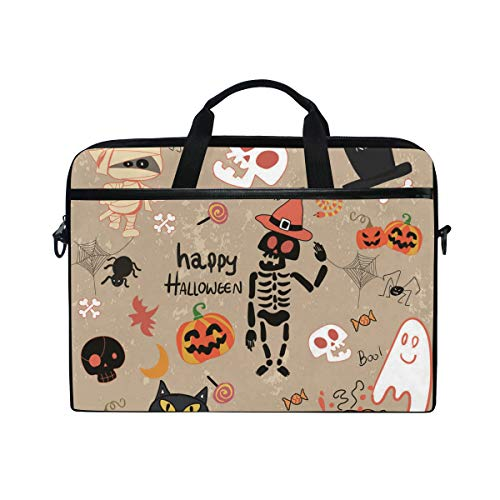 15-15.4-inch Laptop Portable Protection Bags Happy Halloween Clip Art Cartoon Set Vector Image Suitable for Apple -
