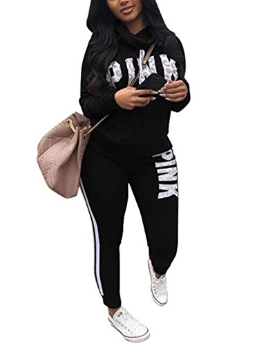 Long Sleeve Pullover Sweatshirt Tops and Long Sweatpants Two Piece Outfit Jumpsuit Black L