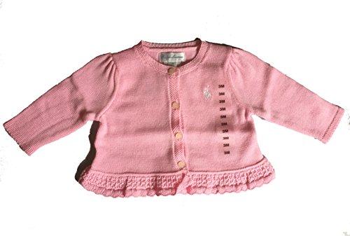 (Ralph Lauren Baby Girl Ruffled Cotton Peplum Cardigan Sweater 3 Months Carmel Pink)