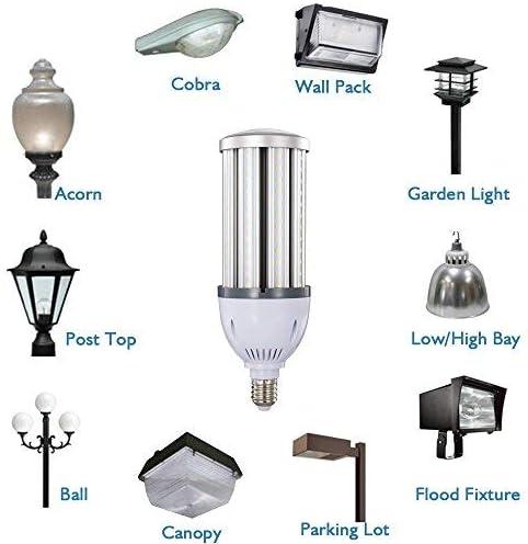 36W 38W 40W LED Corn Light Bulb,E26 Medium Screw Base,Street and Area Light,175Watt Equivalent,Metal Halide High Pressure Sodium Replacement,4300lumen,5000K Daylight,360/°Flood Light,ETL Listed