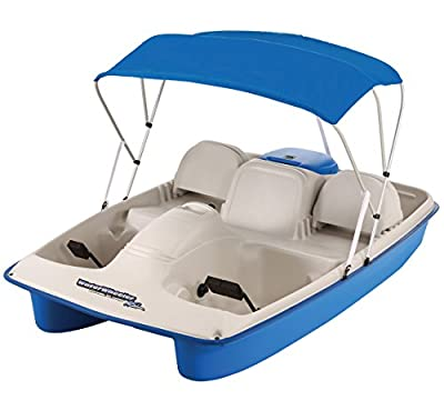 Sun Dolphin Water Wheeler ASL Electric Stainless Steel Boat with Canopy, Blue