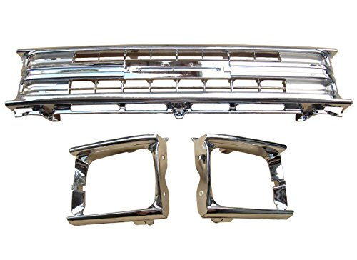 BUY N TRY Fully Chrome Grille & Light Case Headlight headlamp door For Toyota Pickup Hilux 1989-91 with Clips 2WD TO1200135