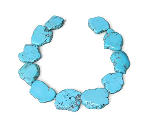 Turquoise Blue Magnesite Slab Stone Beads - Blue with Black Veining - 30mm - 35+mm - 15