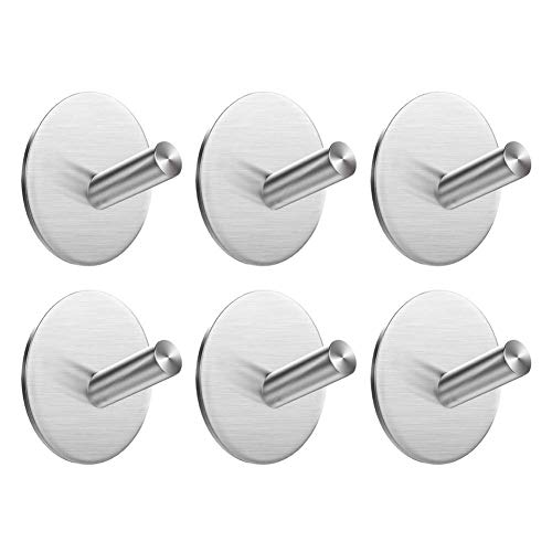EMISK Self Adhesive Towel Hooks, 304 Stainless Steel Stick On Hooks Robe Hook Hanger Heavy Duty, Waterproof Wall Hooks Holder for Bathroom Kitchen and Bedroom [6 Pack] ()