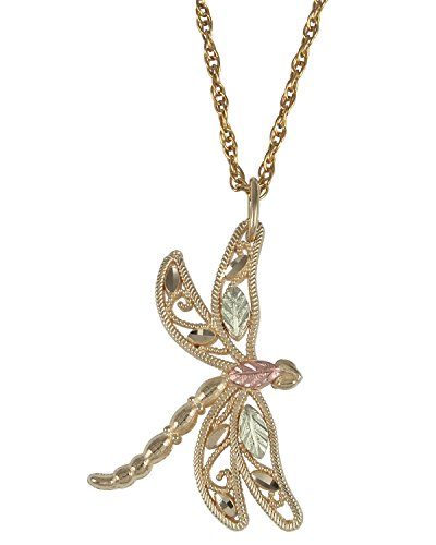 Dragonfly Necklace, 10k Yellow Gold, 12k Green and Rose Gold Black Hills Gold Motif by Black Hills Gold Jewelry
