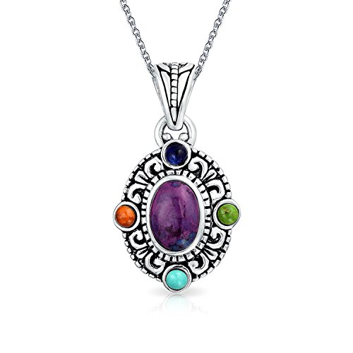Bali Style Oval Multicolor Natural Purple Dyed Stabilized Turquoise Gemstone Pendant Necklace For Women Sterling Silver
