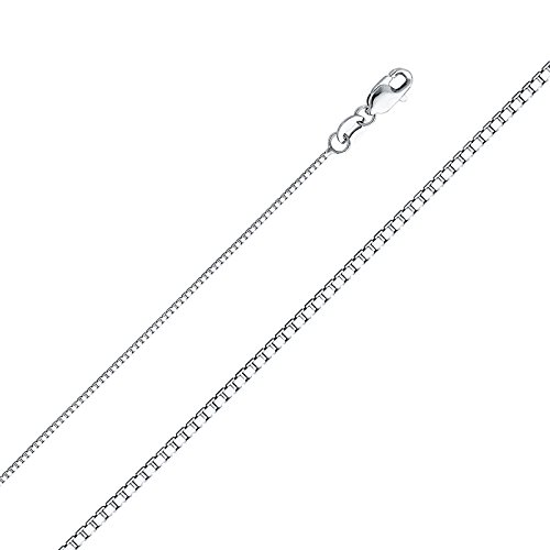 14k Yellow OR White Gold SOLID 1.1mm Box Link Chain Necklace with Lobster Claw Clasp (white-gold, 16.0) (Mens Link 14k Gold Yellow)