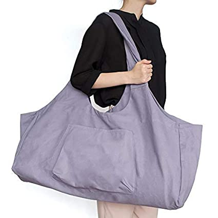 Aolvo Zip Yoga Mat Bag Large, Yoga Mat Tote Bag with Yoga Carrier Strap,Cotton Canvas Tote Bag 2 Extra Pockets Fits for 2 Yoga Mat, 2 ...