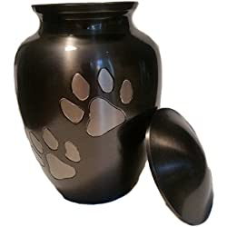 Paw Print Pet Urn for Your Loving Dog or Cat Ashes, in a Strong Slate Finish …
