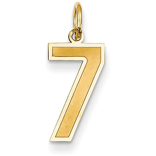 14k Yellow Gold Number Seven Charm Pendant with Satin Finish - # 7 - Yellow Gold - Medium