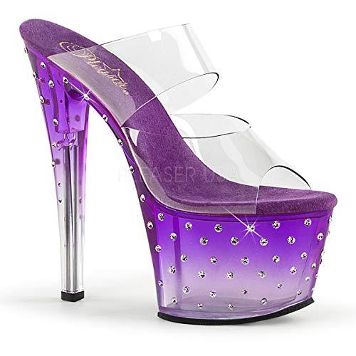 Pleaser Women's Stardust 702T Platform Slide,Clear PVC/Purple-Clear,US 7 -