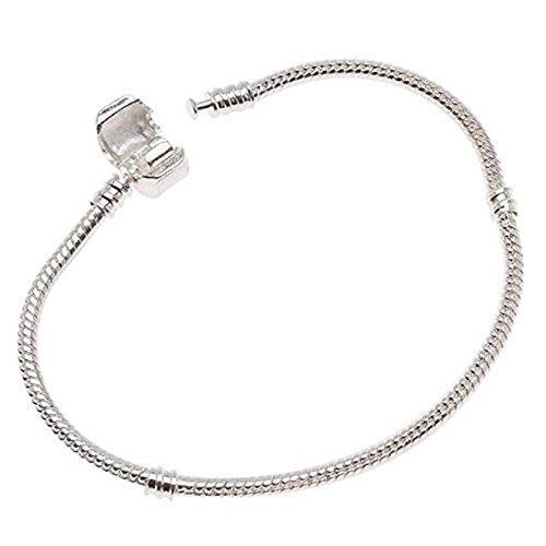 Salome Idea White Silver Plated Clasp European Snake Chain Charm Bracelet fit Charm Beads DIY£¬Snake chain Bracelet for Women & Girls (6.5