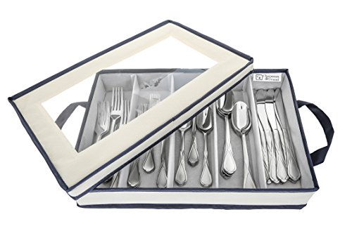 Flatware Storage Chest by Chapman & Grand (Light Cream/Navy) | Container Box with Lid for Utensils, Silverware, Flatware
