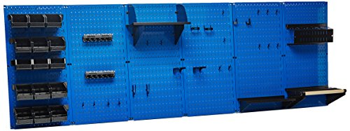 Wall Control 30-WRK-800 BUB Organizer 8' Pegboard Master Workbench Kit with Blue Tool Board and Black Pegboard Hooks by Wall Control