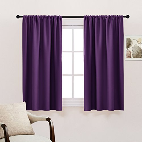 PONY DANCE kitchen Blackout Curtains Home Decoration - Light Block Curtains & Draperies Window Coverings Short with Rod Pocket for Bedroom by, 42-inch by 45-inch, Royal Purple, 2 Panels (For Bedroom Curtains Sale)