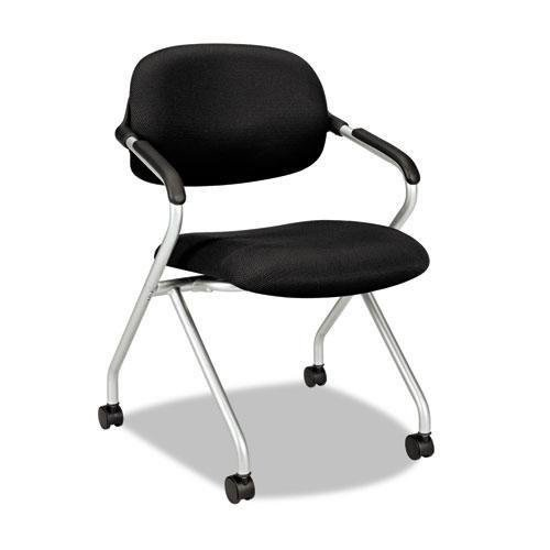 HON basyx Vl303 Mesh Back Nesting Arm Chair, Black/Silver
