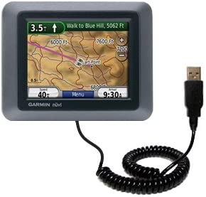 Unique Gomadic Coiled USB Charge and Data Sync cable for the Garmin Nuvi 500 Charging and HotSync functions with one cable Built with TipExchange