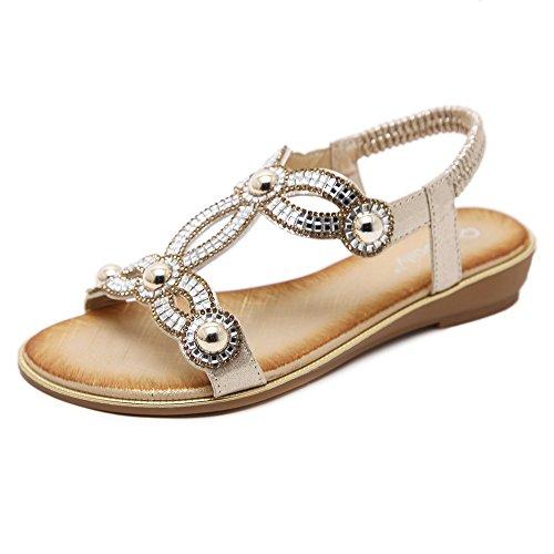 Meeshine Women Rhinestone Beaded Gladiator Flat Sandals Summer Beach Sandal Gold US 9.5 ()