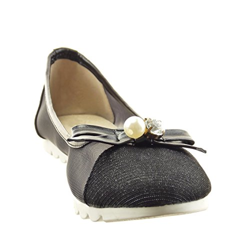 Sopily - Moda Donna Scarpe Ballerina Slip-on Fishnet Knot Jewelry - Nero