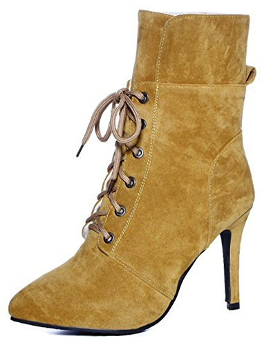 Easemax Women's Fashion Faux Suede Lace Up Pointed Toe High Stiletto Heel Ankle High Boots Yellow SynGSD9kS