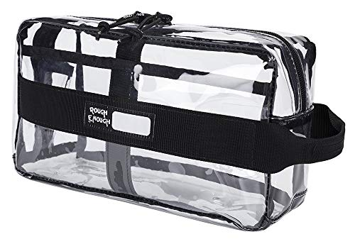 Rough Enough Multi Function ECO Transparent Fancy TSA Approved Carry On Travel Toiletry Bag Clear Makeup Organizer Storage Wash Cosmetic Accessories Pouch Holder with Compartment for School Beach Gym ()