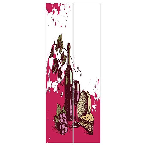 3d Door Wall Mural Wallpaper Stickers [ Wine,Vintage Sketchy Artwork Cheese Alcoholic Drink Fruit Abstract Design Decorative,Hot Pink Olive Green Cream ] Mural Door Wall Stickers Wallpaper Mural DIY H]()