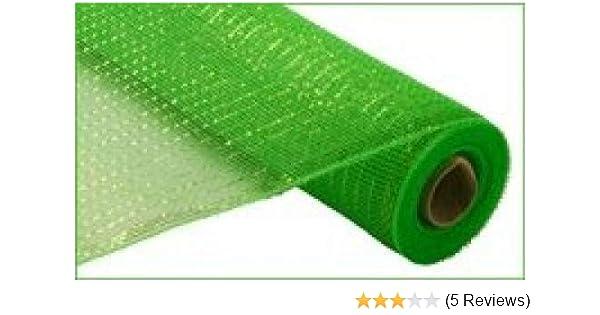 Craig Bachman 21 Metallic Lime Green Deco Mesh with Lime Green Foil 10yds