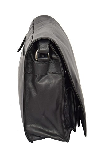 Cross Shoulder A53 Black Bag Bag LARGE Flap Womens Over Leather Work Body YqwATYd