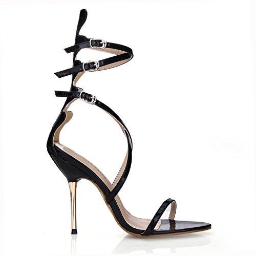 Best 4U® Women's Summer Sandals Patent Leather Peep toe Crossing Straps 10.7CM High Metal Heels Rubber Zipper Shoes Black DiEpPIFKa