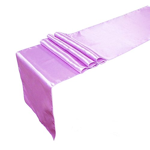 Meijuner 10pcs 30cm X 275cm Premium Satin Table Runner For Wedding Reception Banquet Table Decoration 22 Color Available (Lilac)