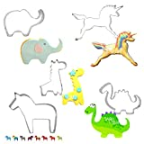 Anyana 5pcs/set Lovely Animal Series of Qute Elephant Unicorn Dinosaur Giraffe Horse Metal Cookie Biscuits Stainless Steel Cutters