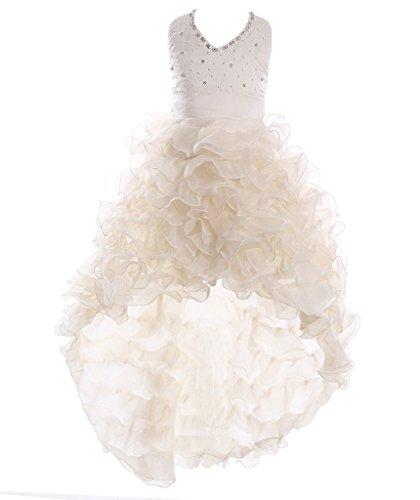 FAIRY COUPLE Little Girl's Satin Organza Hi-lo Formal Communion Pageant Dress K0025 6 Champagne