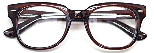 Nerd Geek Oversized Eye Glasses Horn Rim Retro Framed Clear Lens Spectacles (Brown - Nerd Glasses Brown