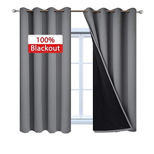 Yakamok Gray Full Shading Curtains 100% Blackout Window Curtain Panels, Thermal Insulated Soundproof Curtains with Black Liners for Bedroom(52Wx63L, Grey, One -